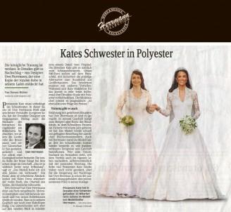 Die königliche Trauung ist verdaut. In Dresden gibt es Nachschlag – von Designer Uwe Herrmann, der eine Kopie der royalen Robe in seinem Laden entdeckt hat - Hochzeitsmode Dresden - Uwe Herrmann