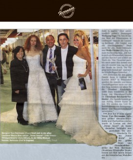 Uwe Herrmann, Sachsens größter Abendmodespezialist und Hochzeitsausstatter, wurde in London mit dem Venus Award als bester deutscher Verkäufer ausgezeichnet - Hochzeitsmode Dresden - Uwe Herrmann