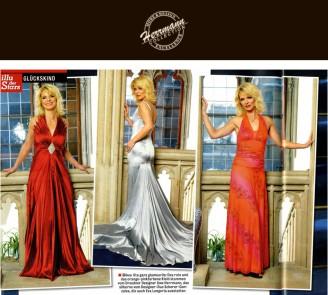 Diva Uta ganz glamourös: Das rote und das orange-pinkfarbene Kleid stammen vom Dresdner Designer Uwe Herrmann - Hochzeitsmode Dresden - Uwe Herrmann