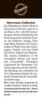 Ein Mutlitalent in Sachen Mode ist Herrmann Collection, egal ob es um Braut-, Fest- oder Herrenmode geht - Hochzeitsmode Dresden - Uwe Herrmann